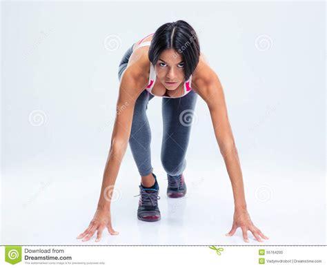 runner sporty in start position stock photo image 55764200