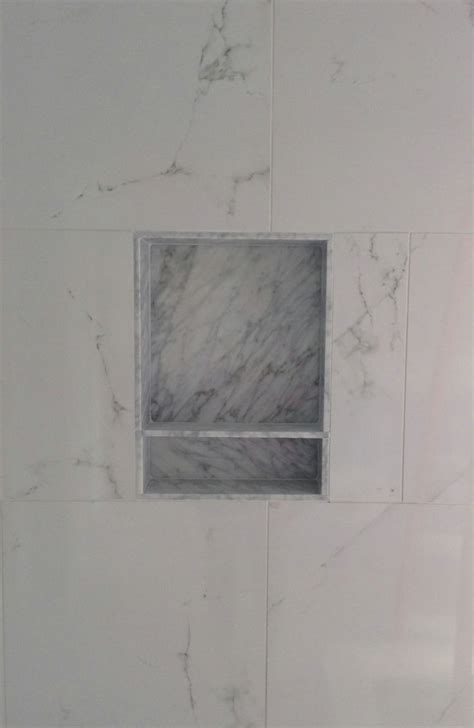 porcelain wall tile marble niche schluter trim