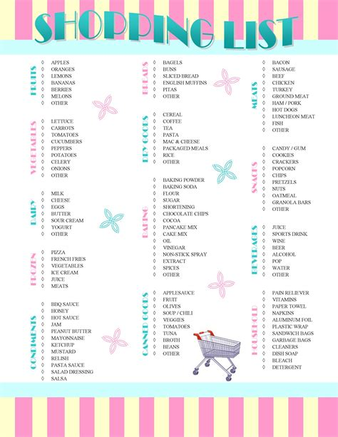 7 best images of pretty printable shopping list it s so splendid free printable shopping list