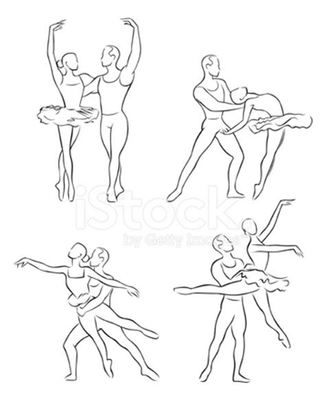 line drawing of ballet dancers 1 stock vector freeimages.com