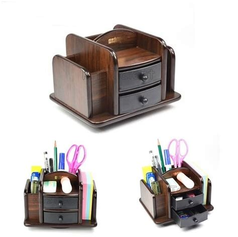 Desk Organizer With Drawer Office Table Desk Organizer 2 Plastic Drawer Wood Pen Holder Desktop Computer Ebay