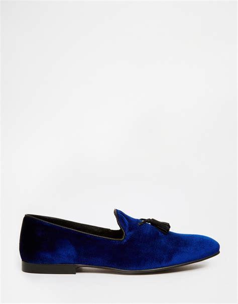 velvet tassel loafers lyst asos tassel loafers in blue velvet in blue for
