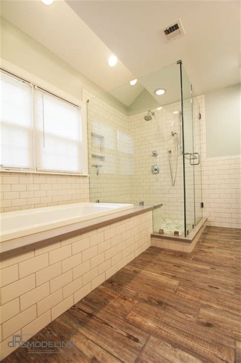 bathroom with wood tile ceramic wood plank tile transitional bathroom