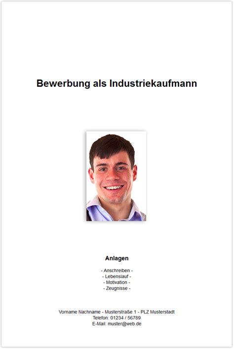 Bewerbungsschreiben Ausbildung Muster Deckblatt Bewerbungsdeckblatt Industriekaufmann Industriekauffrau