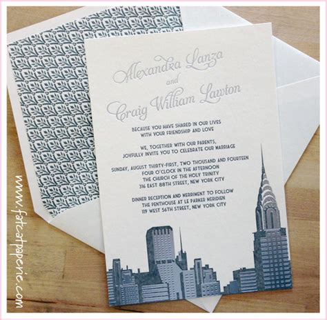 custom wedding invitations nyc nyc wedding invitation cat paperie custom wedding invitations