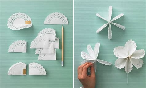 How To Make Paper Doily Flowers - paper doily flowers diy how to make tutorial