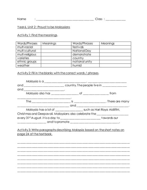 year 1 worksheets malaysia year 6 unit 2 proud to be malaysians describing malaysia
