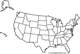large black and white us map map of the united states with title and states coloring