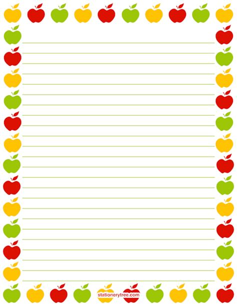 free printable apple stationery printable apple stationery