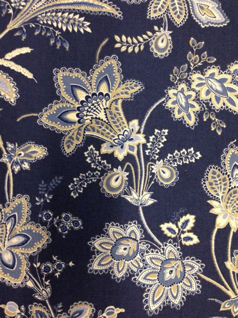 Navy Blue And White Upholstery Fabric by Beautiful Navy Blue White And Wheat Floral Fabric Navy