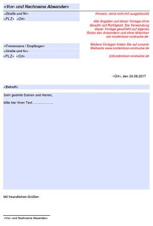 Kostenlose Briefvorlage allgemeine briefvorlage kostenlose vordrucke de