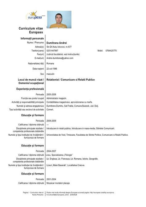 Cv Template Romana Modele Cv Europass Cv Anonyme