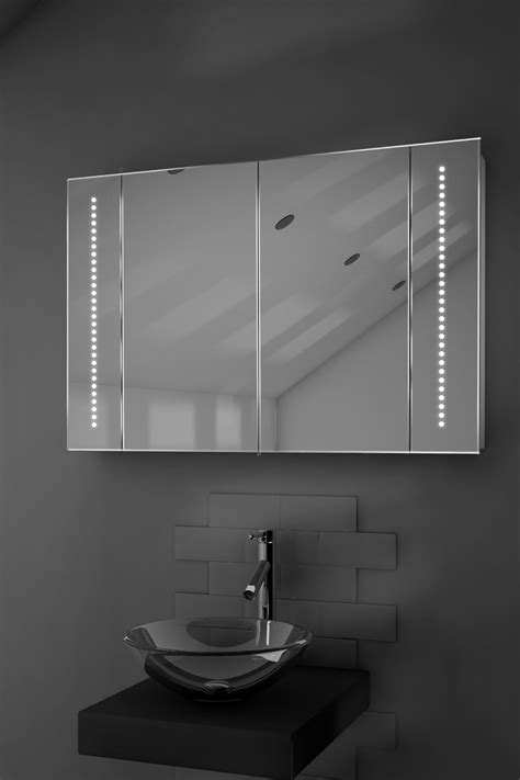 led illuminated bathroom mirror cabinet with sensor