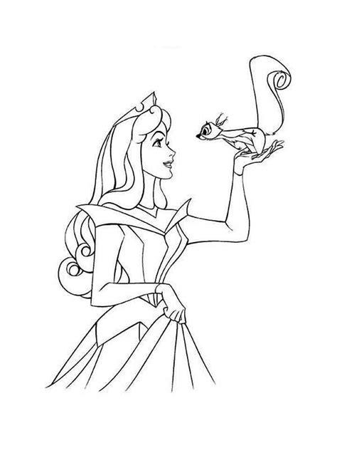 Desenho de Aurora e esquilo para colorir - Tudodesenhos