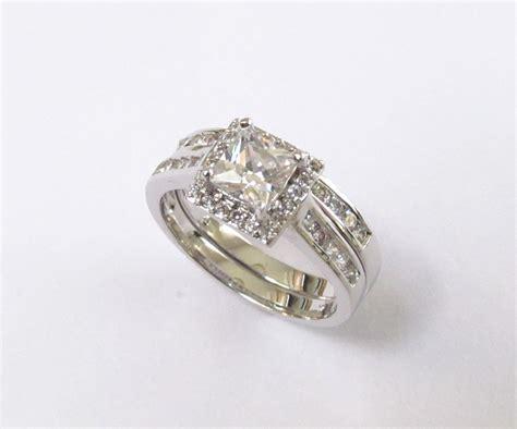 halo engagement set rhodium plated cz wedding rings sizes
