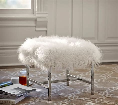 Pottery Barn Faux Fur Stool by Tavi Mongolian Faux Fur Stool Pottery Barn