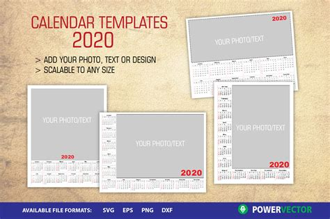 photo calendar year  templates graphic  powervector creative fabrica