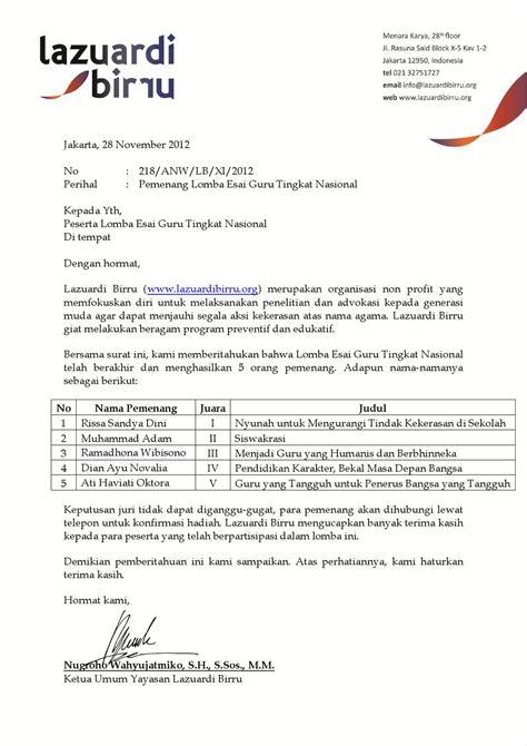 surat keterangan pemenang lomba esai guru tingkat nasional by omeoo