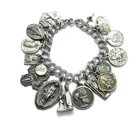 jewelry and charms religious medals charm bracelet sterling silver antique