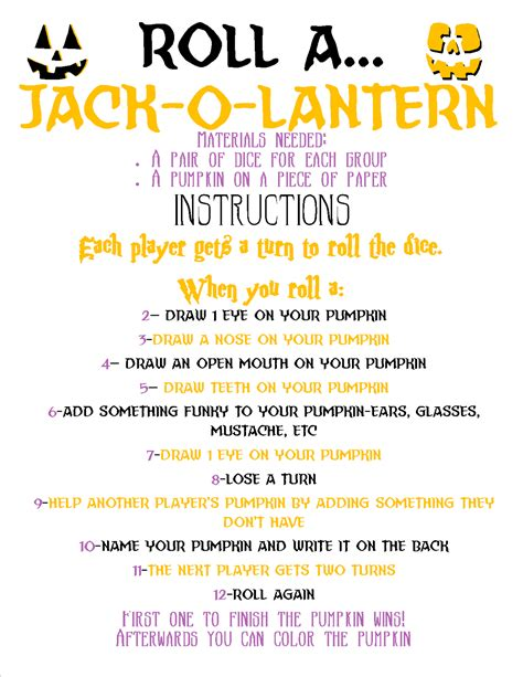 roll a jack o lantern printable recipes from stephanie roll a jack o lantern game