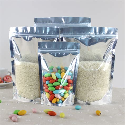 Standing Pouch Kombinasi Uk10x16 Cm 50pcs lot 24cm 35cm 5cm 200micron clear foil stand up pouch food plastic packaging bag with