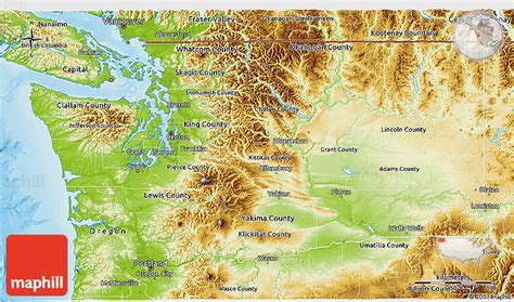 a physical map of washington physical 3d map of washington