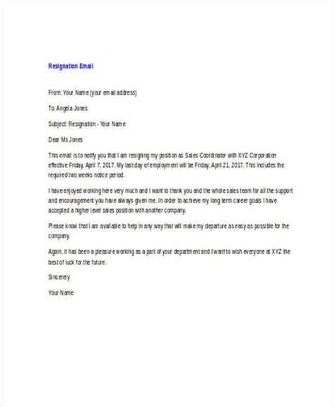 resignation email best 20 resignation email sle ideas on sle of resignation