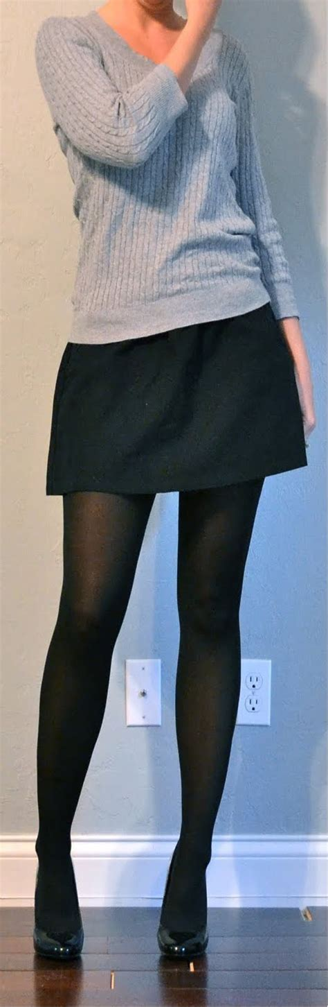outfit post grey sweater black mini skirt black tights