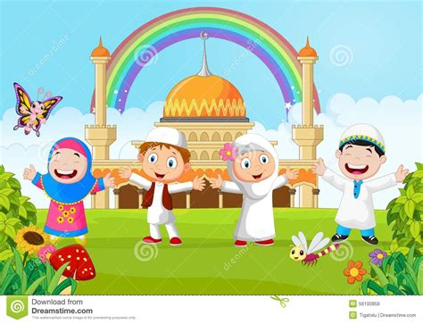 wallpaper anak kecil islami cartoon happy kid muslim with rainbow