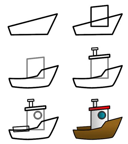 how to draw a fishing boat step by step drawing a cartoon boat