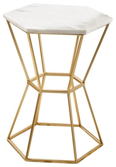 Hexagon Side Table Tozai Hexagonal Marble Table Contemporary Side Tables And End Tables By Juiceblenddry
