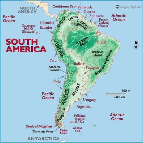 south america map bodies of water andes mountains
