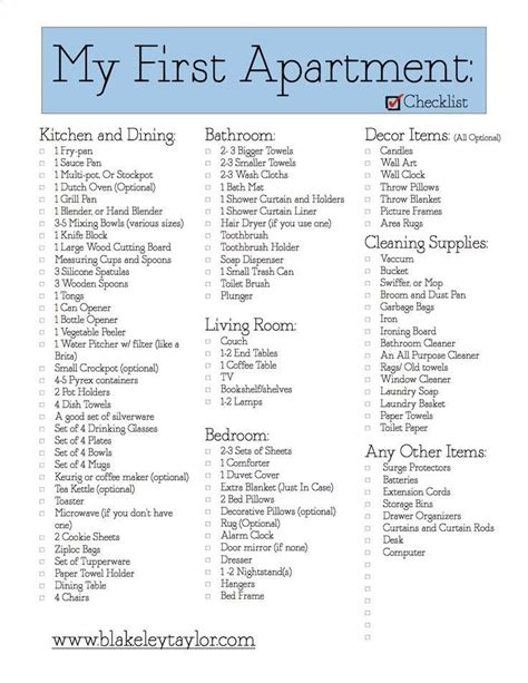 new house checklist of things needed my first apartment free printable go check it out