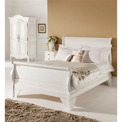 White Single Sleigh Bed Antique Style Sleigh Bed Carved Mahogany
