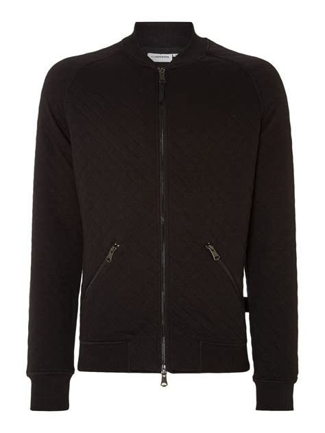 Quilted Sweatshirt Jacket by J Lindeberg Quilted Sweatshirt Bomber Jacket In Black For