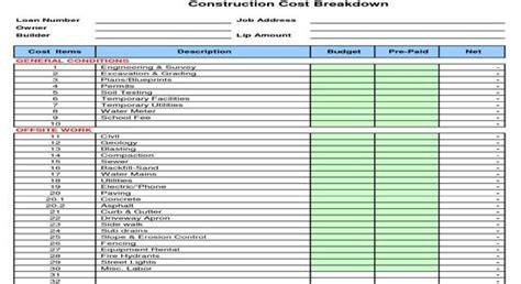 download sheets building materials sheet cost construction cost construction and types of on pinterest