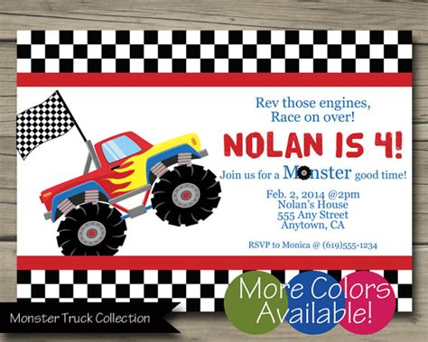 printable monster jam birthday cards monster truck birthday party invitation printable truck