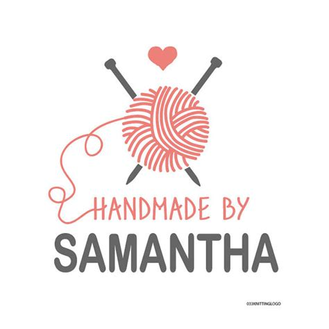 knitting logo premade knitting design for use on label tag by