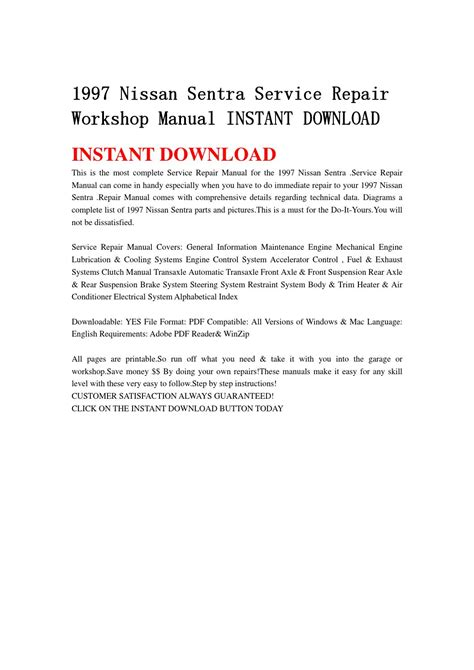 nissan sentra 2000 free download pdf repair service manual pdf 1997 nissan sentra service repair workshop manual instant download by jfhnn mkjnd issuu