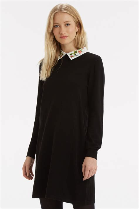 Oasis Embroidered Collar Swing Dress In Black Lyst