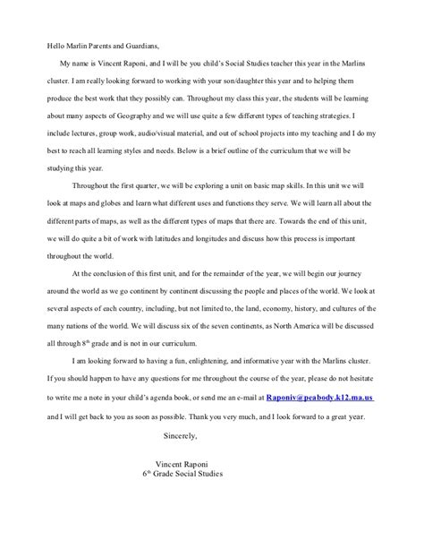 Room Parent Letter Introduction Introduction Letter To Parents