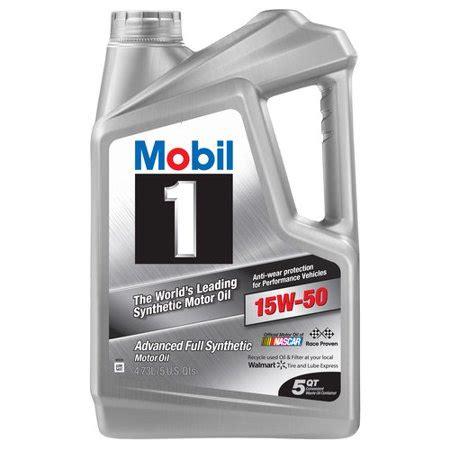 mobil 1 15w50 mobil 1 15w 50 synthetic motor 5 qt walmart