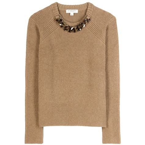 Embellished Sweater lyst burberry embellished wool and sweater in brown