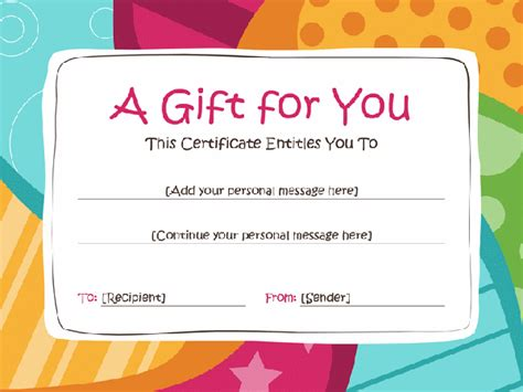 personalized gift certificates template free gift certificate