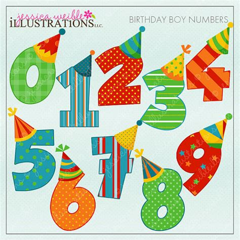 cute printable number cards birthday boy numbers cute digital clipart for card design