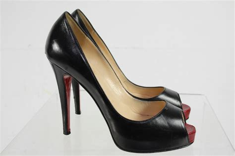 High Heel Shoes Christian christian louboutin solid black peep toe slip on high heel shoes size 37 ebay