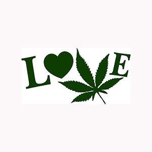 love pot sticker marijuana leaf vinyl decal smoke weed