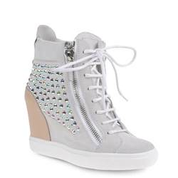 giuseppe zanotti high top sneakers in white suede