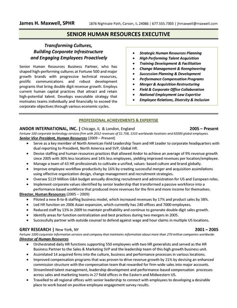 Resume Format For Human Resource Executive human resources executive resume sle free