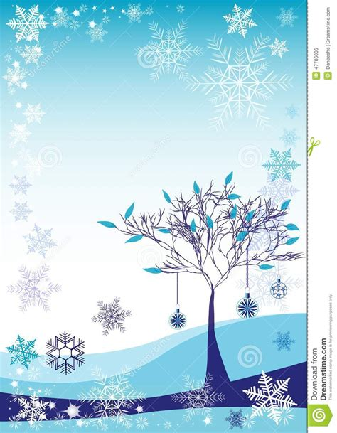 winter tree snowflakes stock vector winter background with snow tree and different snowflakes 2015